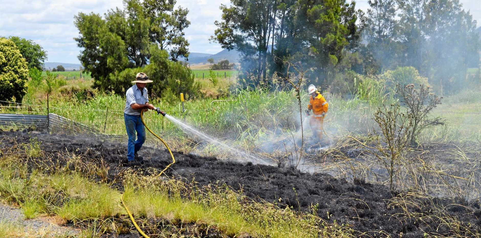 FIRE HAZARD: A damaged caravan wheel sparked fires on the Cunningham Hwy.