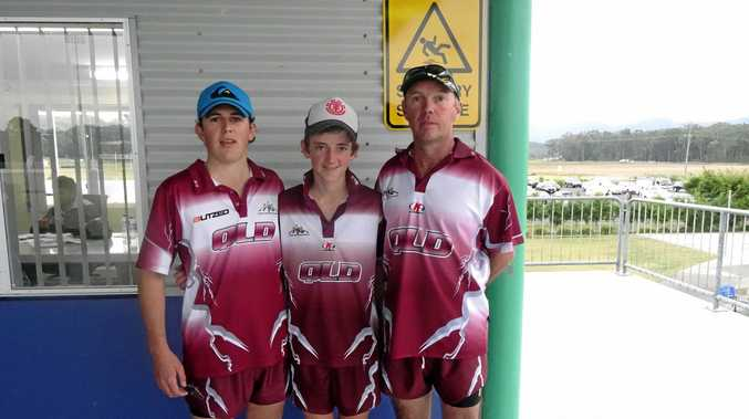 Wattles U18s coach Grant Lollback, right, with sons Mitchell and Blake, on a weekend all three played touch rugby for Queensland.