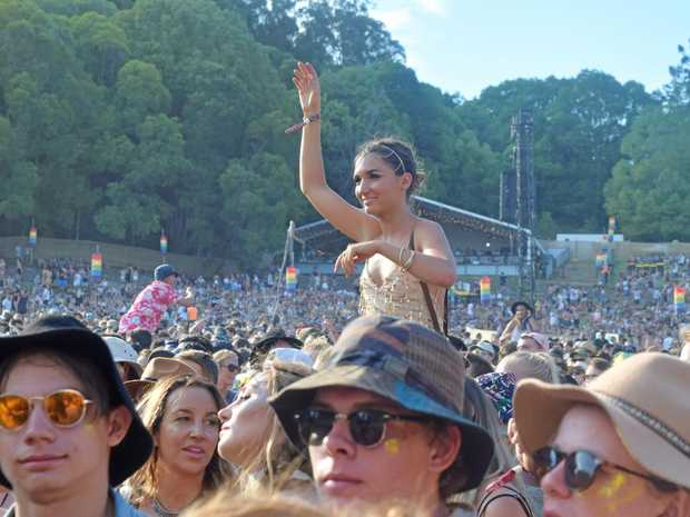 NEW YEAR'S EVE: Crowds enjoying Client Liaison's show at the first day of Falls Festival Byron Bay.