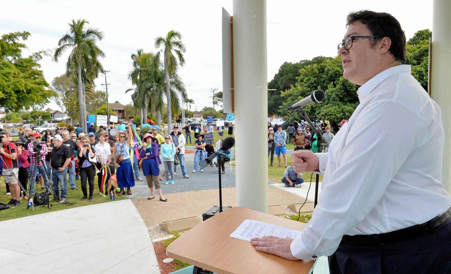 George Christensen speaks at during a Reclaim Australia Rally in Mackay in 2015.
