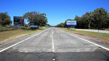 LINE OF DISCONTENT: The start of the stretch of the old Pacific Highway next to the Coolangatta Airport clearly showing the border line between the roadways.