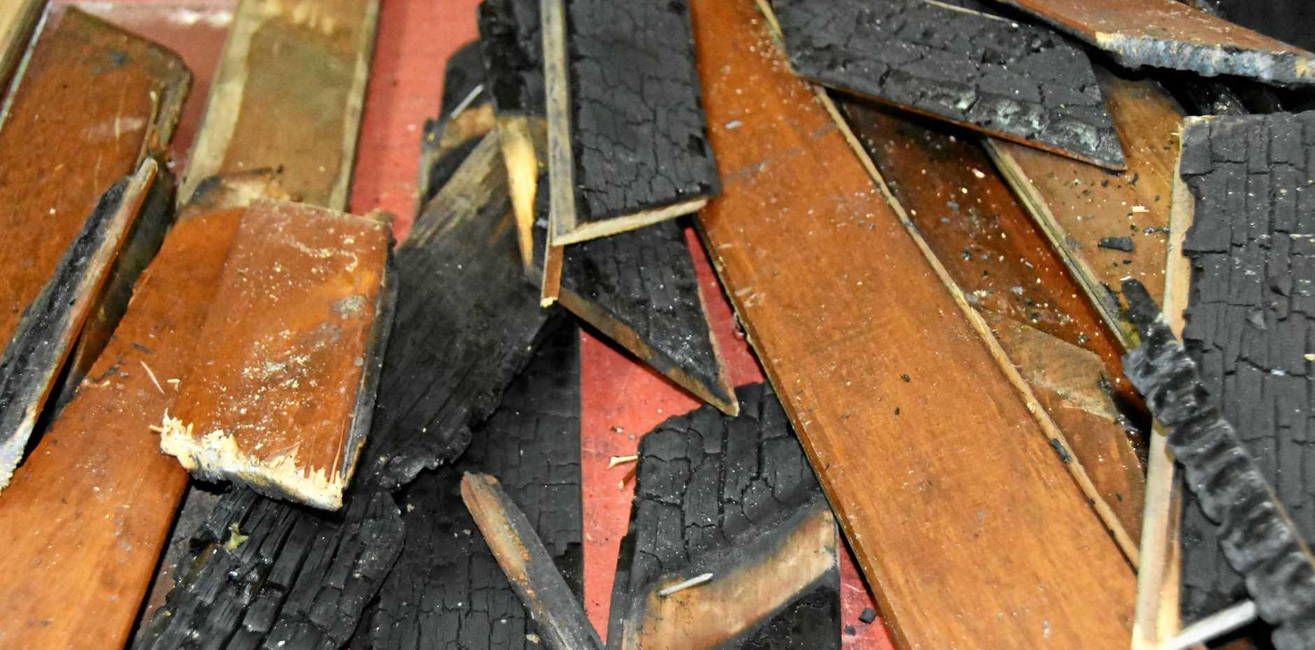 The damage caused to St Marys Catholic Church.