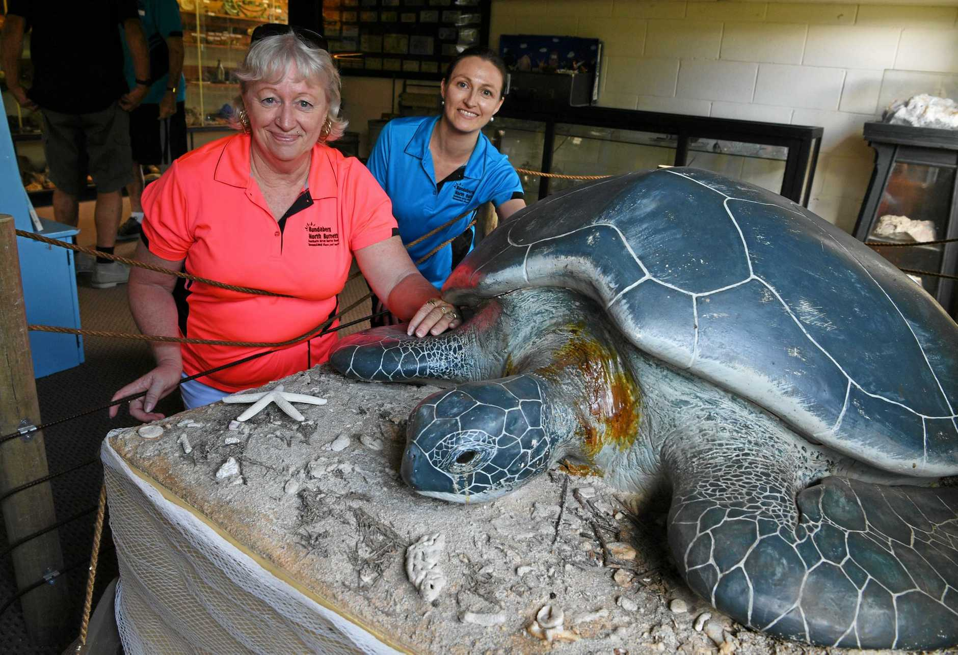 Bundaberg North Burnett Tourism's Maria Miles and Emily Cleaver with the turtle to be named at the Mystery Craters .