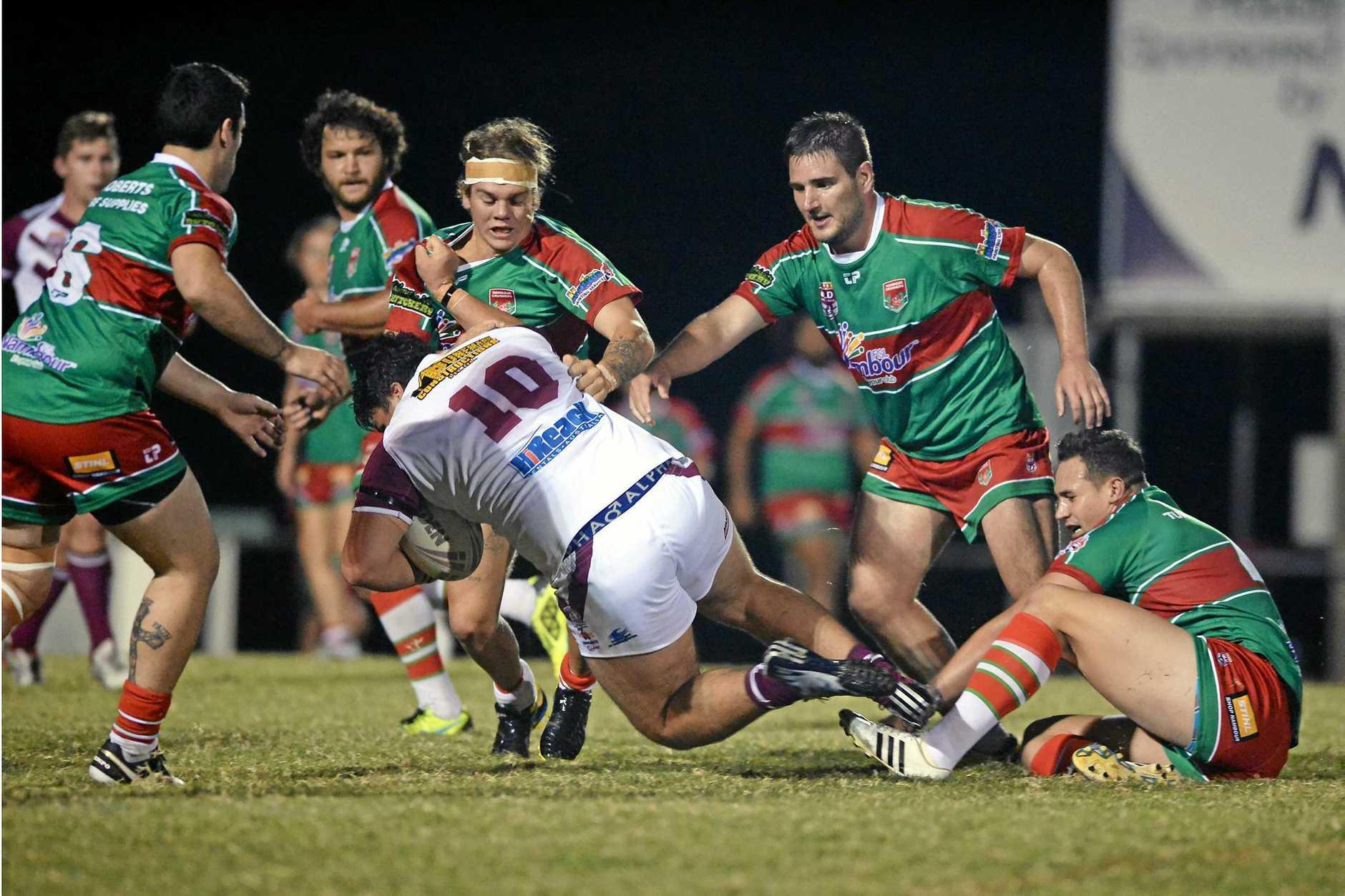 Rugby league. Nambour v Kawana at Crusher Park, Nambour. Kawana player Price Imlach takes the ball up.