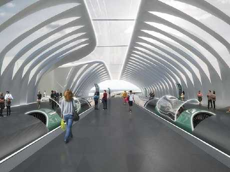 An artist's impression of how a high-speed hyperloop station would look.