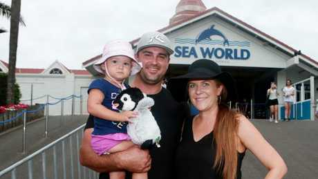 Michael and Bianca Burgess and their young child Lexie visited Sea World yesterday, but will visit Dreamworld in the future.
