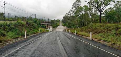 Deceptively deep: Denison Creek is three metres over the bridge on Oxford Downs Sarina Road.