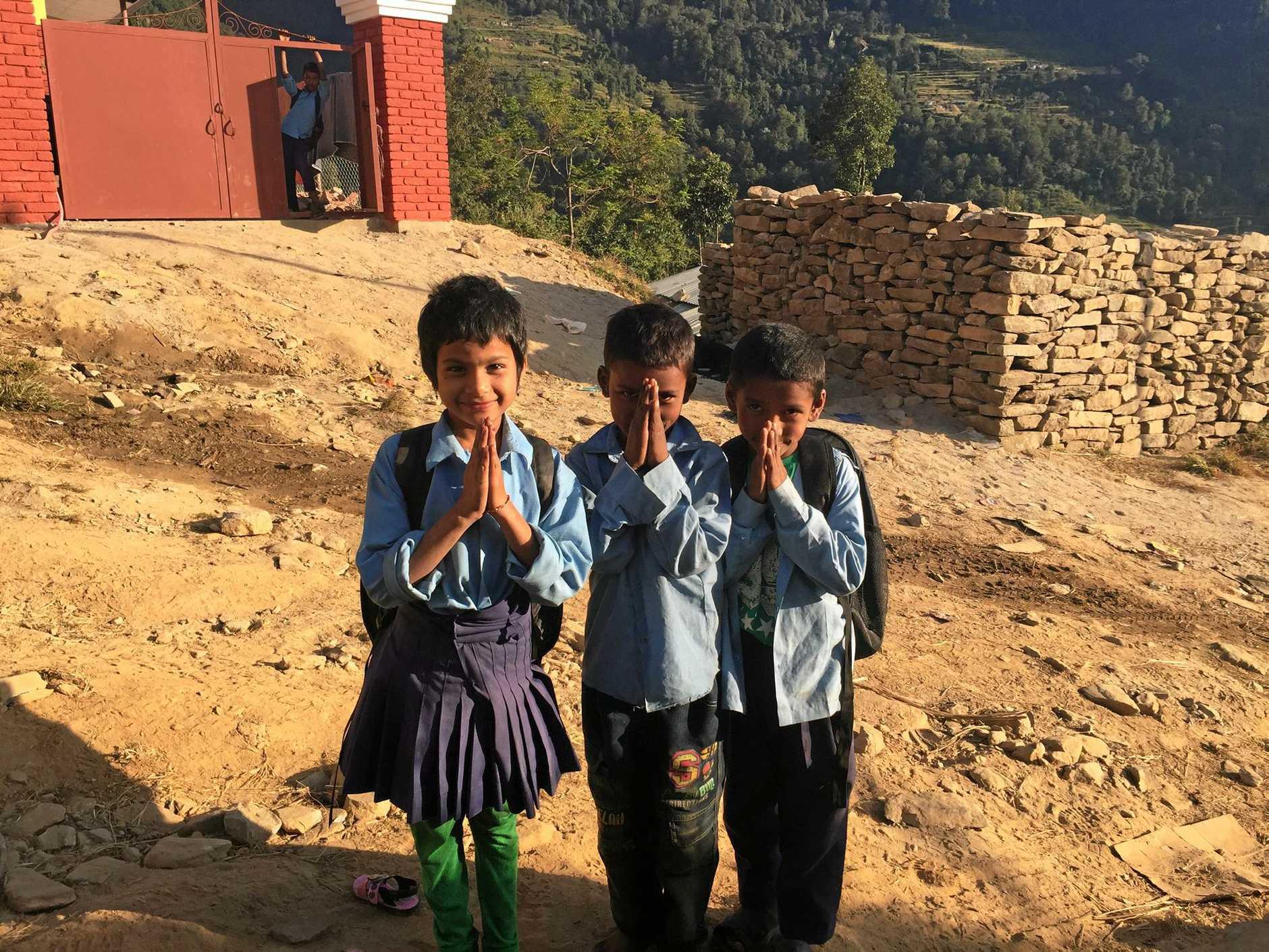 Namaste from children in Chitre.
