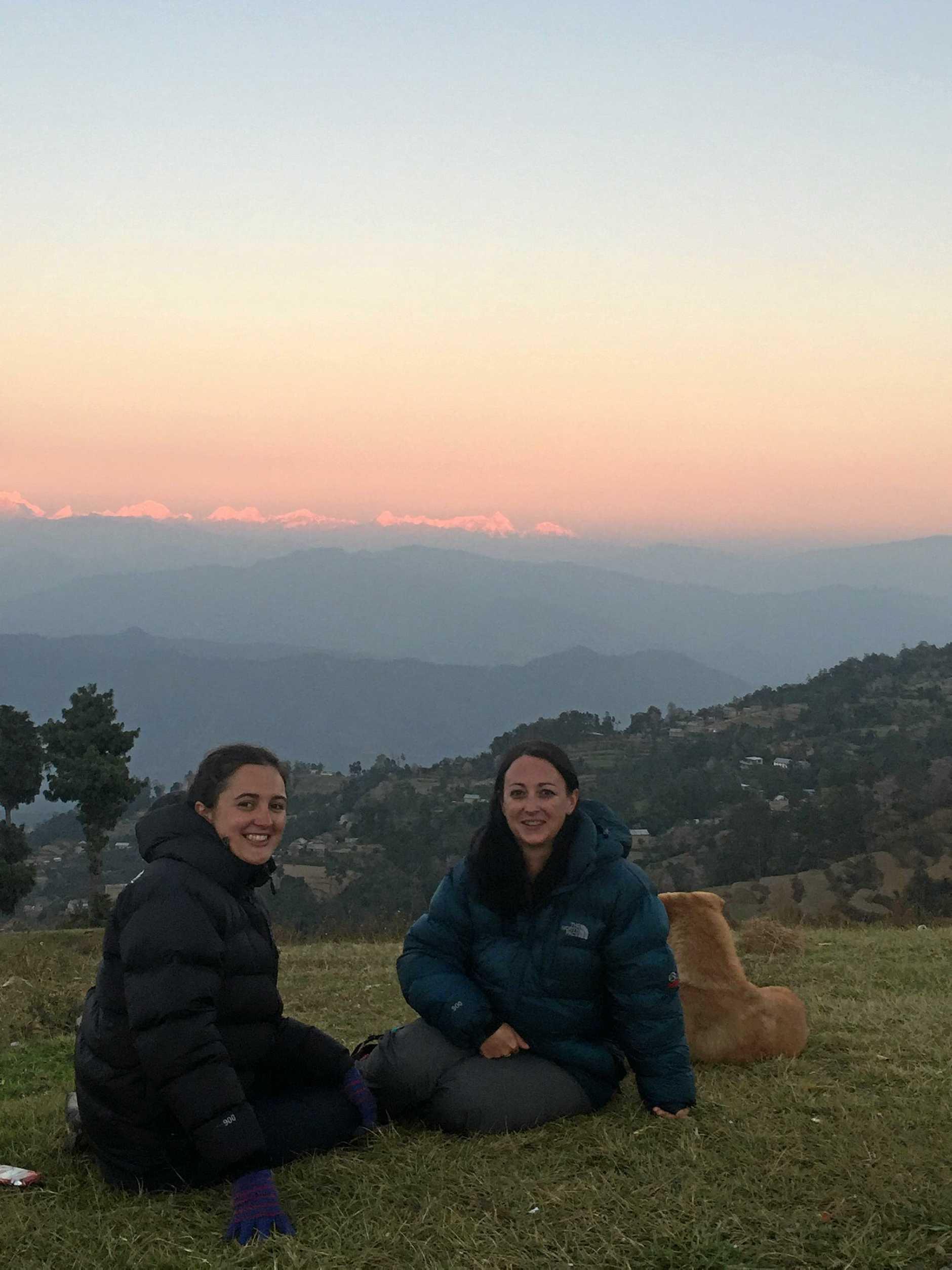 Enjoying the Himalayan views in Namobuddha.