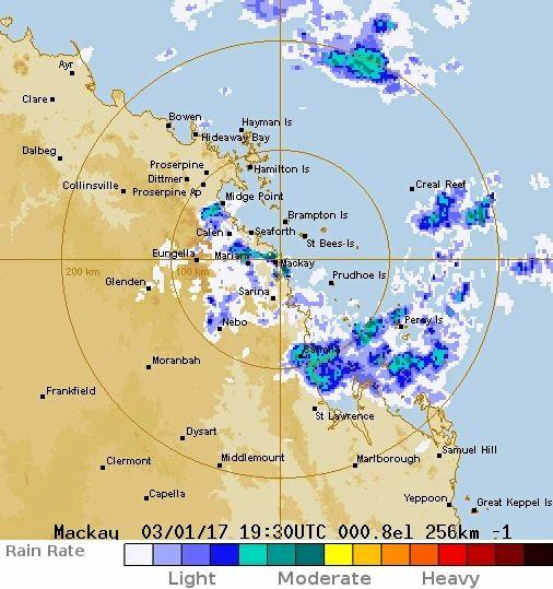 Bureau of Meteorology's 256km radar loop.