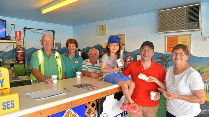 (From left) John Griffith, Heather Schillings, Keith Sparks, travellers Nika and Karsten Ploesser, and Maureen Dunn at the Gladfield Driver Reviver.