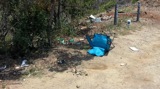 Rubbish including chairs and litter left by visitors at Arakwal National Park on new year's eve.