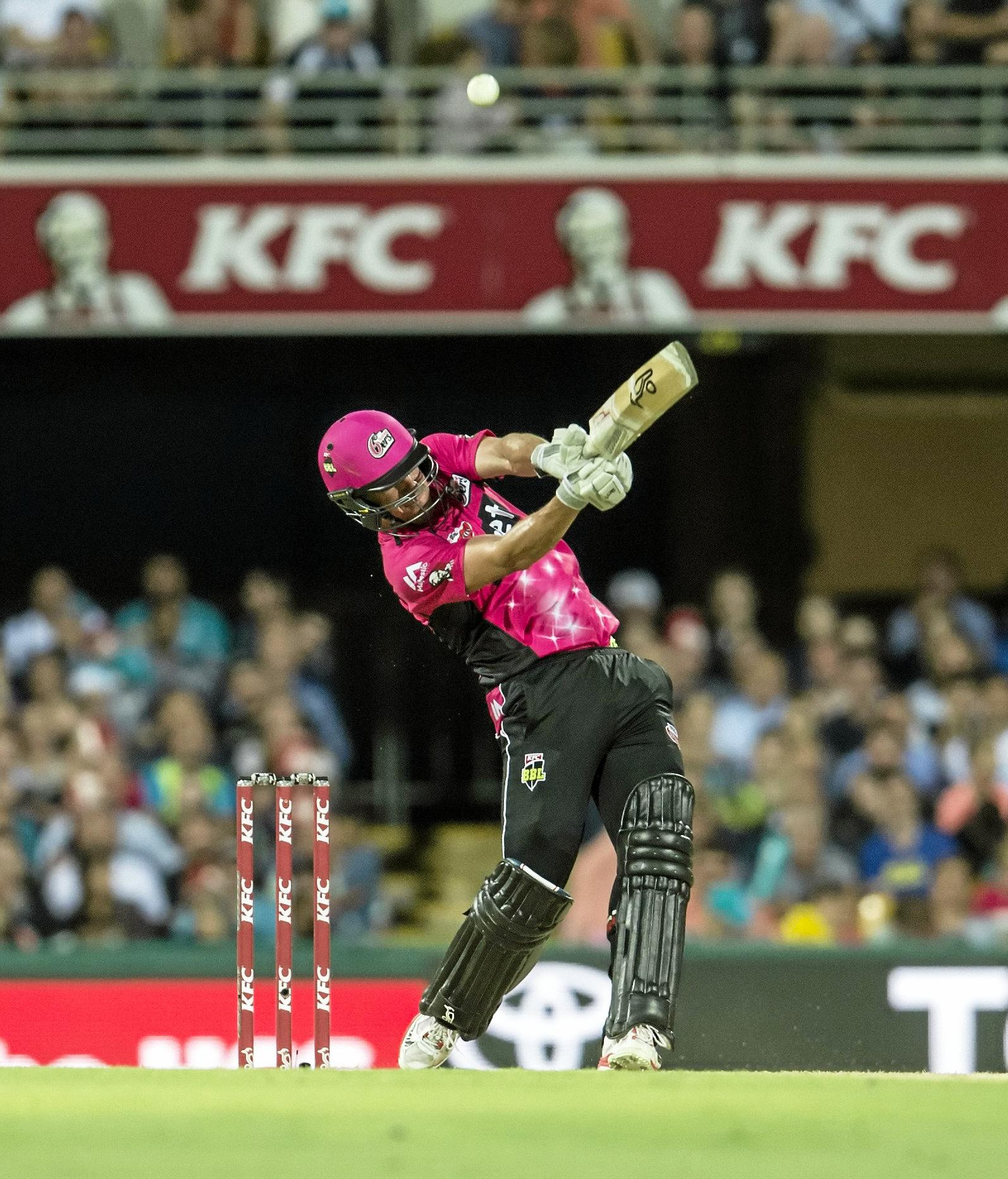 Daniel Hughes of the Sydney Sixers during the Big Bash League match against the Brisbane Heat.