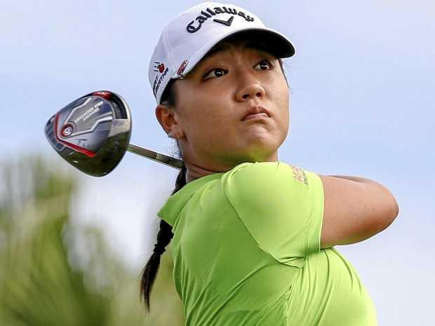 Lydia Ko of New Zealand watches a shot.