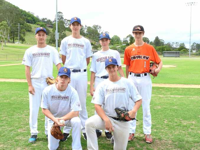 The local juniors who have been selected for the Queensland Under 16 and Under 18 National Baseball tournament are (back row, from left) Damon Mitchell, Ethan Elliott, Seth McClelland, Josh Healy, (front, from left) Kodey Wilford and Oakley Wilford.
