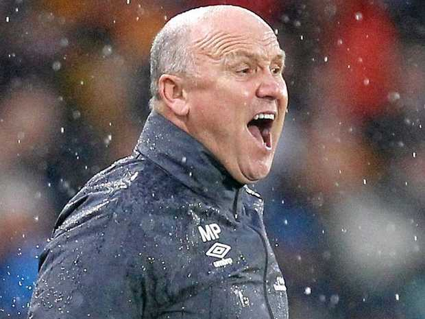 Hull City's Mike Phelan shouts from the sideline.