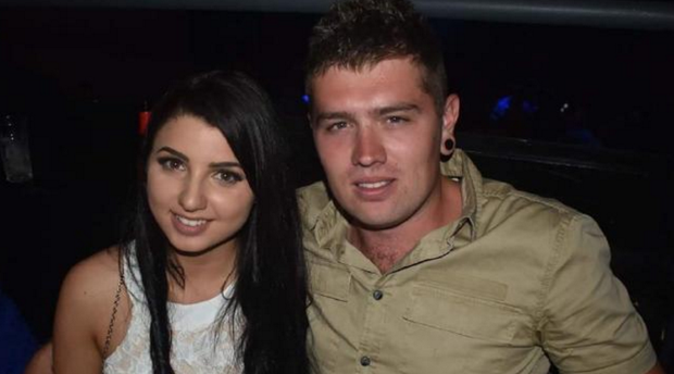 Luke Rice with his fiance Zoe Sloane. Picture: Lonnies Niteclub