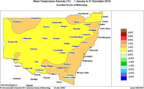 All regions across New South Wales experienced above average temperatures.