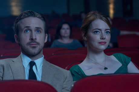 Ryan Gosling and Emma Stone in a scene from the movie La La Land.