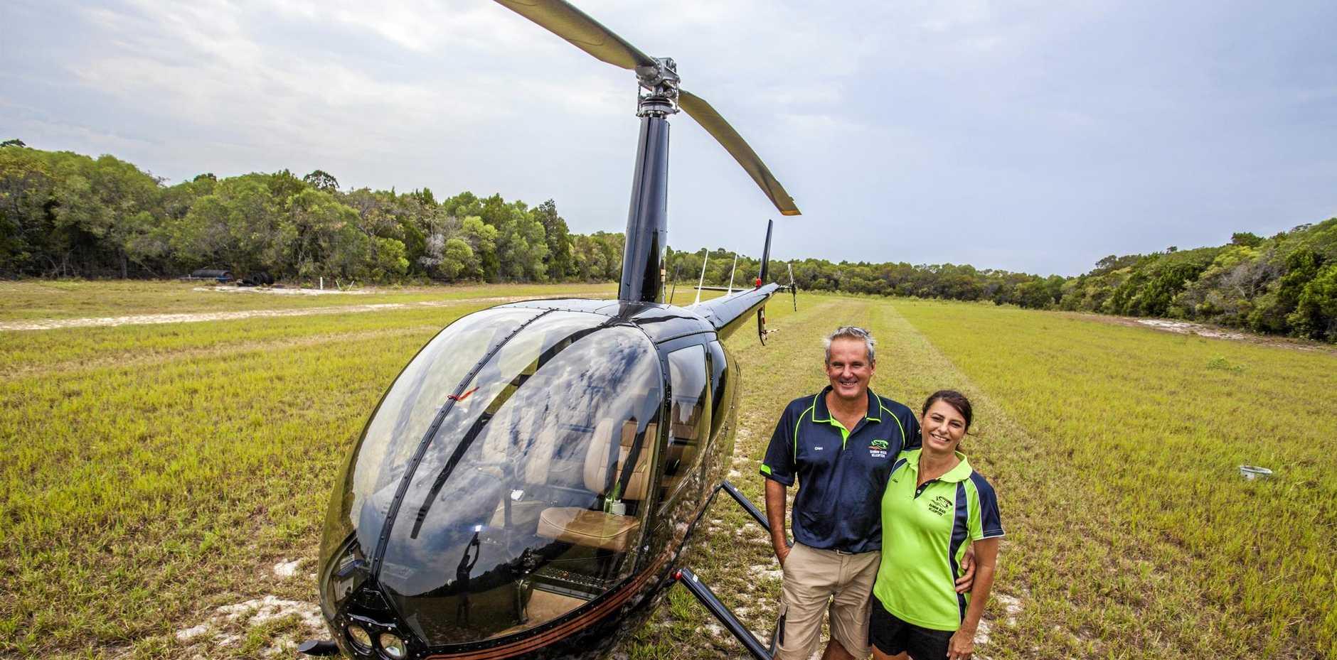TAKE FLIGHT: Glen Cruickshank and Diana Journeaux, of Mooloolaba, ready to take off.
