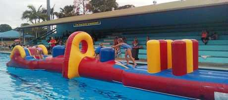 A new form of entertainment at Kyogle swimming pool.
