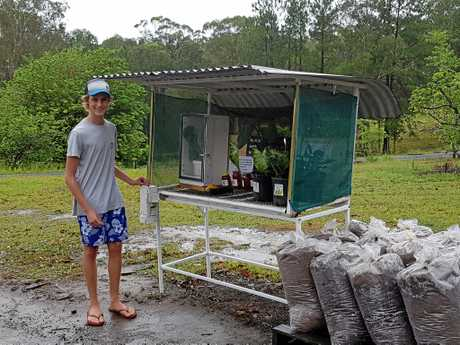 Jackson Moroney, 14, proudly places money for fruit, veggies and honey in the honesty box at his local roadside stall. Owners of this stall on Old Gympie Rd in Landsborough say it'll have to close if people don't stop stealing the produce.