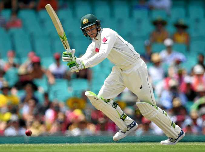 Peter Handscomb of Australia plays a shot during day two of the third Test against Pakistan at the SCG.
