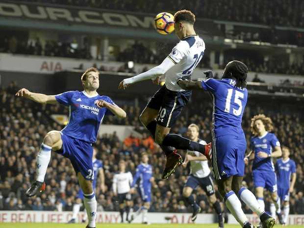 Tottenham's Dele Alli scores against Chelsea at White Hart Lane.