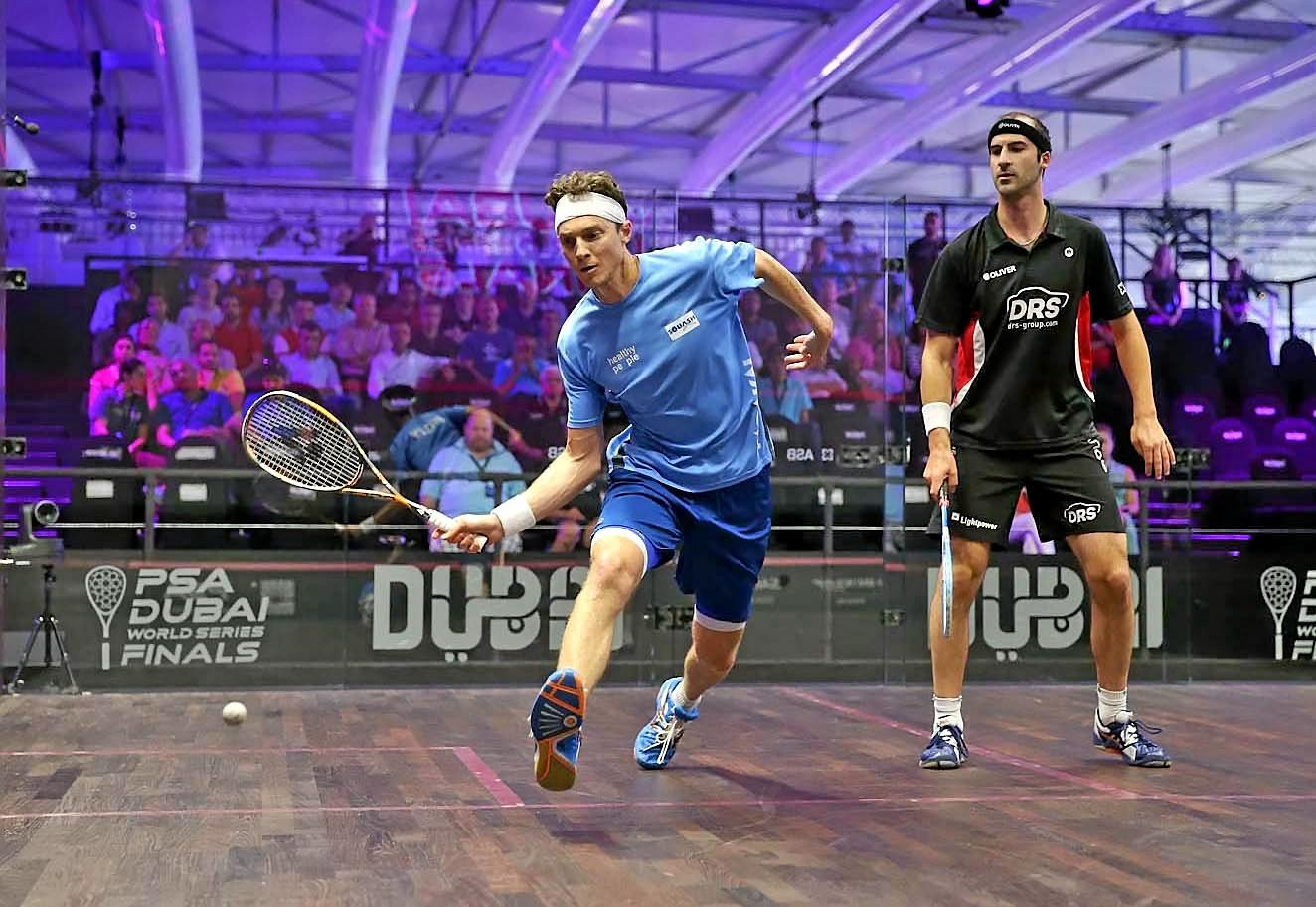 ON TOUR: Cameron Pilley playing in the squash World Series Final in Dubai last year.