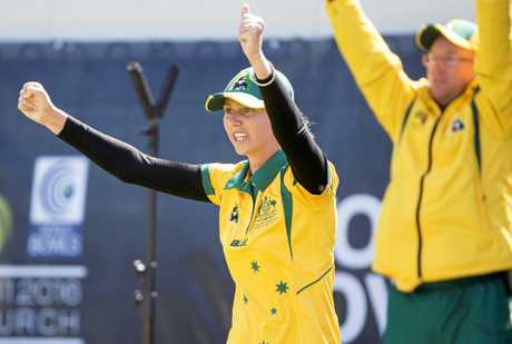 CHAMP: Kelsey Cottrell celebrated a world fours title while playing for Australia in New Zealand last month.