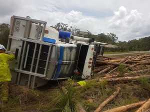Logging truck rolls on Sunshine Coast