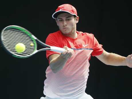 Queensland junior Oliver Anderson in action in the Australian Open Boys final this year.