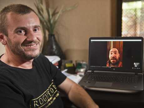 BEST MATES: Matt Doran chats to his mate Aric Hoogerwerf in the United States. Aric is dying from cancer and would dearly love to visit Australia. Friday Jan 6, 2017.