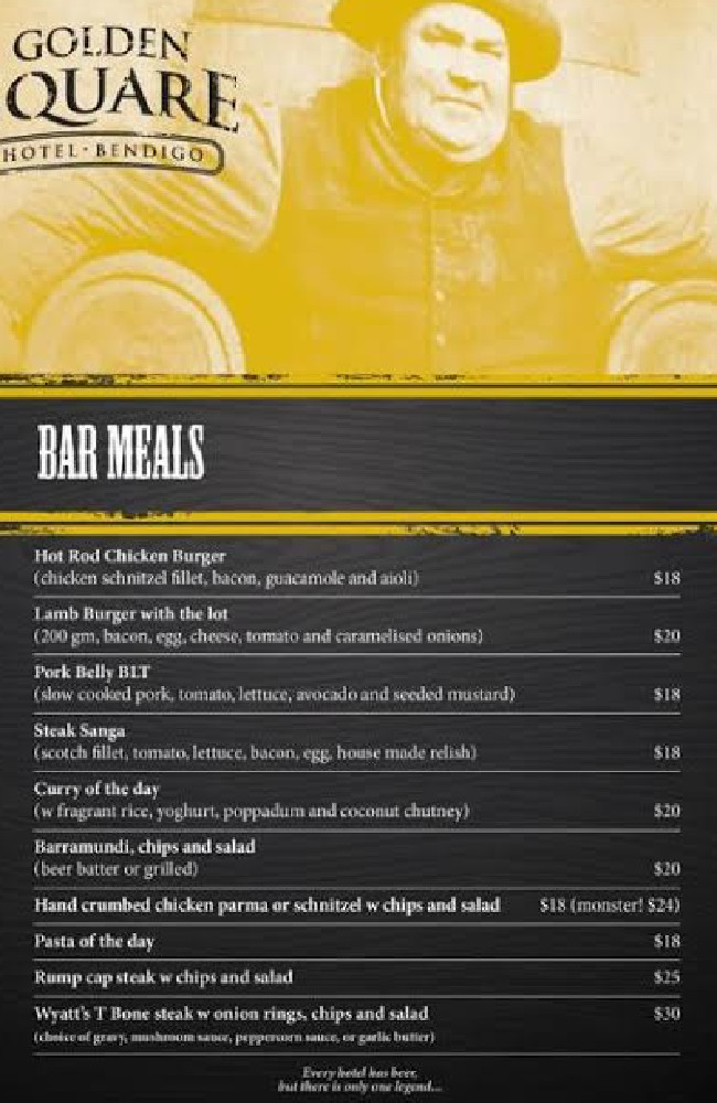 The Golden Square hotel menu lists the pasta for $18.