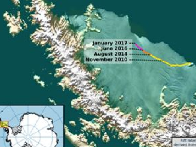 The fracture has rapidly expanded in the last few years, as the picture above shows. Scientists say there is just a 20km stretch holding ice in place and its likely to become a massive iceberg within months.