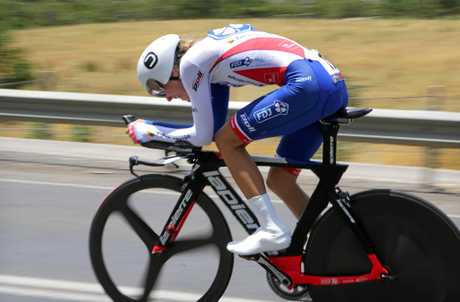 IN ACTION: Shara Gillow during the time trial near Ballarat.