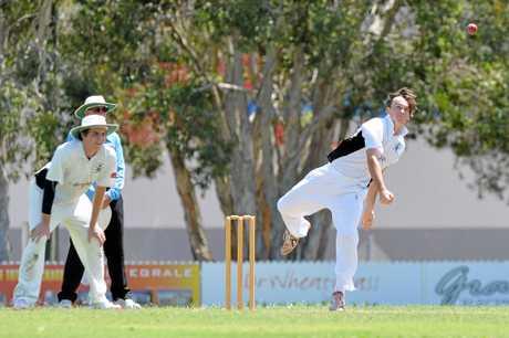CRICKET: Caloundra v Glasshouse at Roy Henzell Oval, Caloundra. Caloundra's bowler Will Carlile.