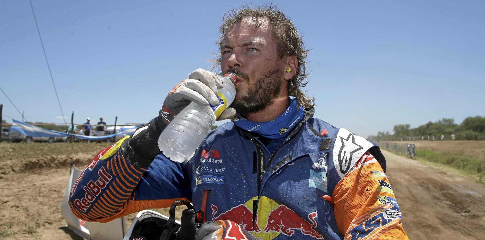 Australia's KTM rider Toby Price after finishing the second stage of the 2017 Dakar Rally.