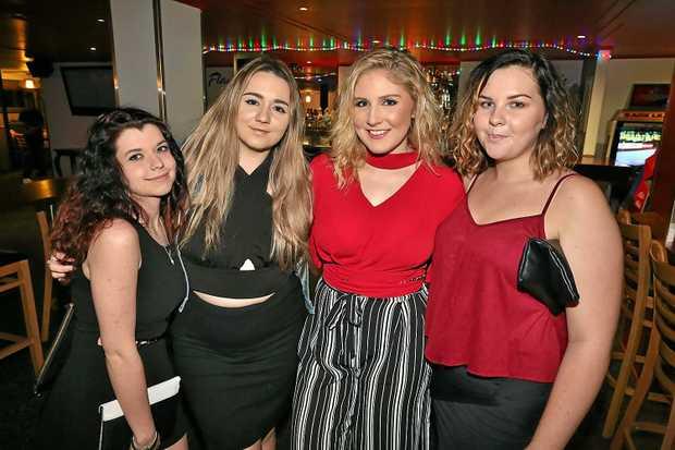 L-R Lachelle Shanks, Zoe Maker, Emma Birse and Caitie Harth at Flamingo's On Quay. Photo Liam Fahey / Morning Bulletin