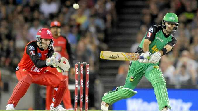 Glenn Maxwell of the Melbourne Stars plays a reverse sweep shot in the Big Bash League.