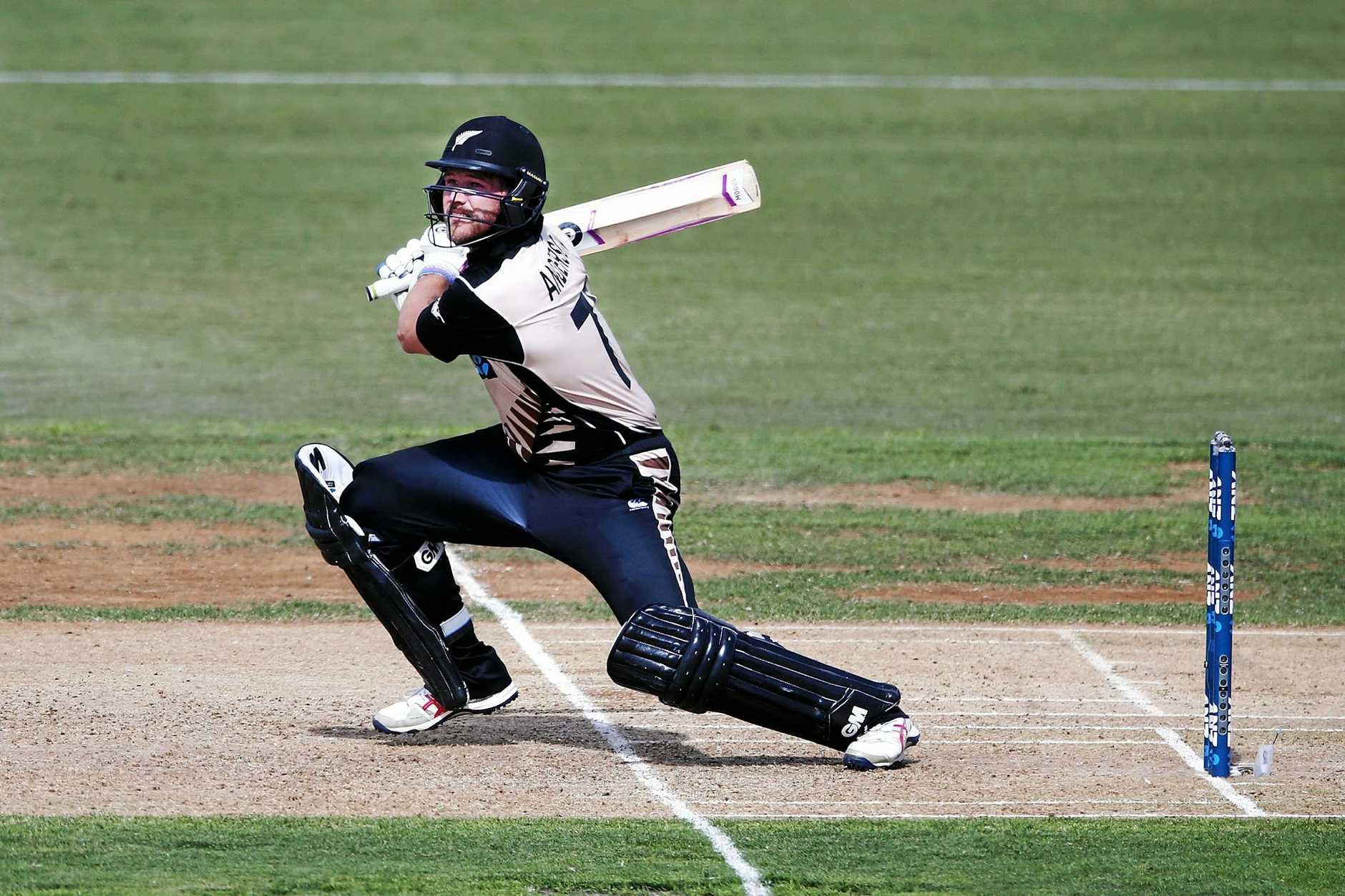 Corey Anderson of New Zealand bats during the third Twenty20 international match against Bangladesh.