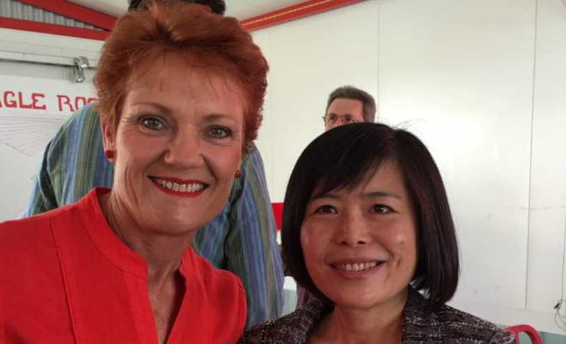 Dumped One Nation candidate Shan Ju Lin and Pauline Hanson. Source: Facebook.