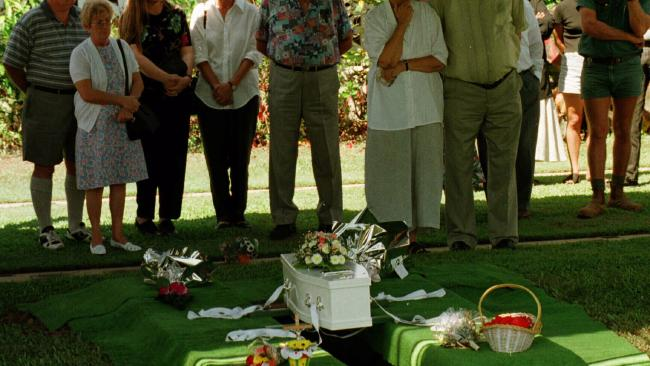 A funeral for the baby boy found dead in a Cairns driveway in 1996.