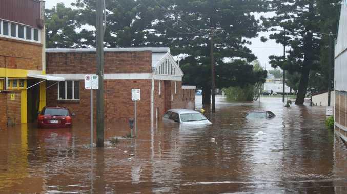 Cars in flood water near Chalk Drive.