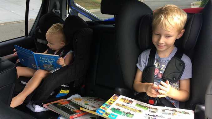 Kids in rear seat of long term test 2016 Toyota HiLux SR5.