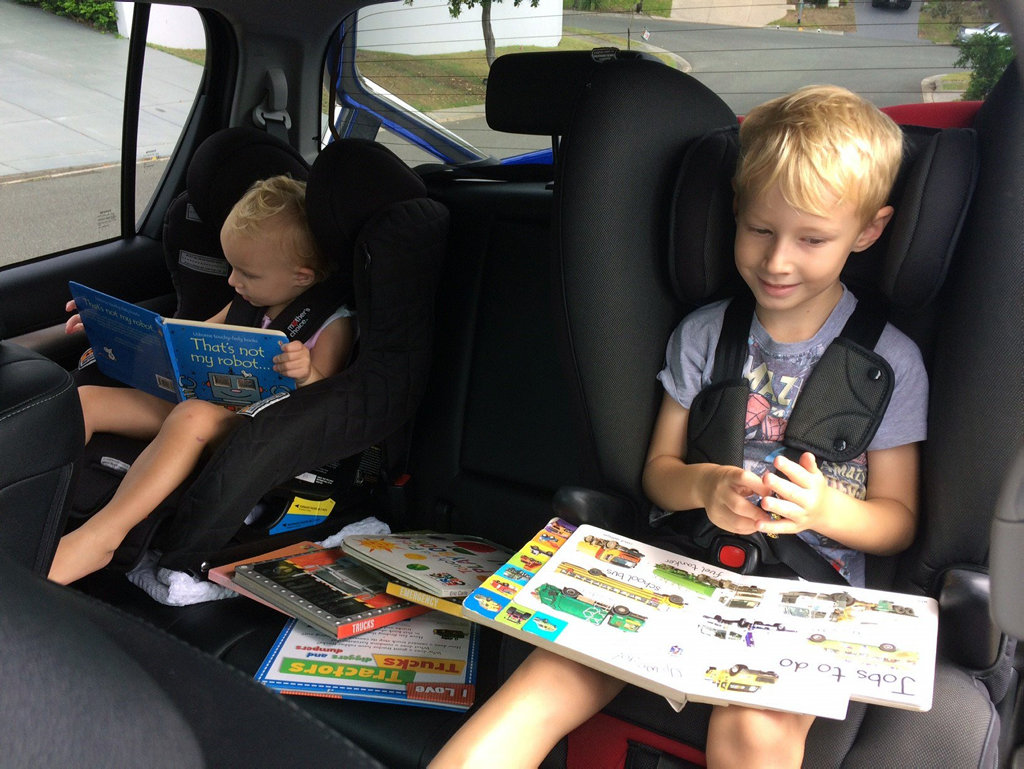 Kids in rear seat of long term test 2016 Toyota HiLux SR5.