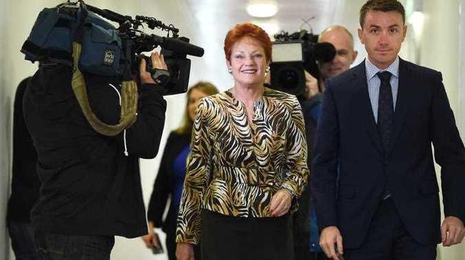 One Nation leader Pauline Hanson, centre, with Sunshine Coast media advisor James Ashby, right.
