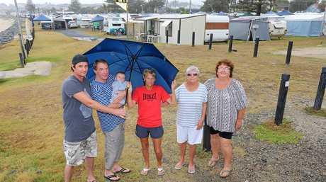 Ryan Barnes, Peter Barnes, Diesel Barnes, Karen Barnes, Sue Noble and Joan Alexander spending what may be their last summer at Kingscliff Beach Holiday Park.
