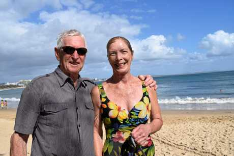 NOT WORRIED: Brian and Marilyn Keelty leave their scarce belongings on the beach while they swim.