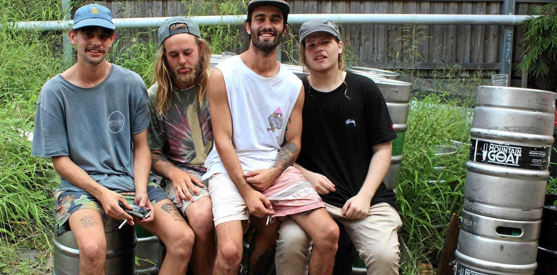 SCHOOL MATES: Rhys Adams, Lyle Hardy, Joe Scriha, Rangi Barnes make up the band Pandamic.